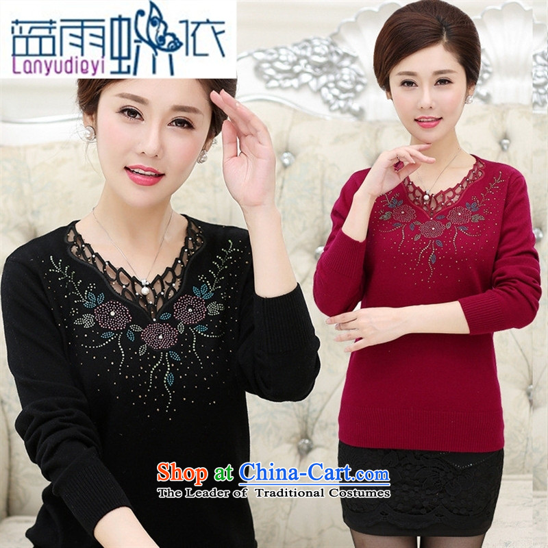 * Store and involved in the autumn of 2015, the new elderly long-sleeved T-shirt Knitted Shirt ironing drill sweater mother stamp blouses female wine red?115
