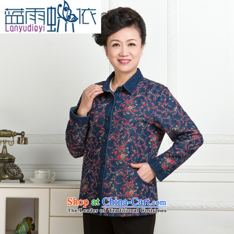 * Store and involve the new Korean fashion, female older saika stitching cotton shirt, long-sleeved relaxd reverse collar installed grid for mother?L