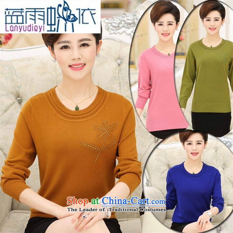 _ Store and involved_ Older women Knitted Shirt Fall_Winter Collections long-sleeved relaxd stylish large load mother pure color woolen sweater, forming the Blue聽105