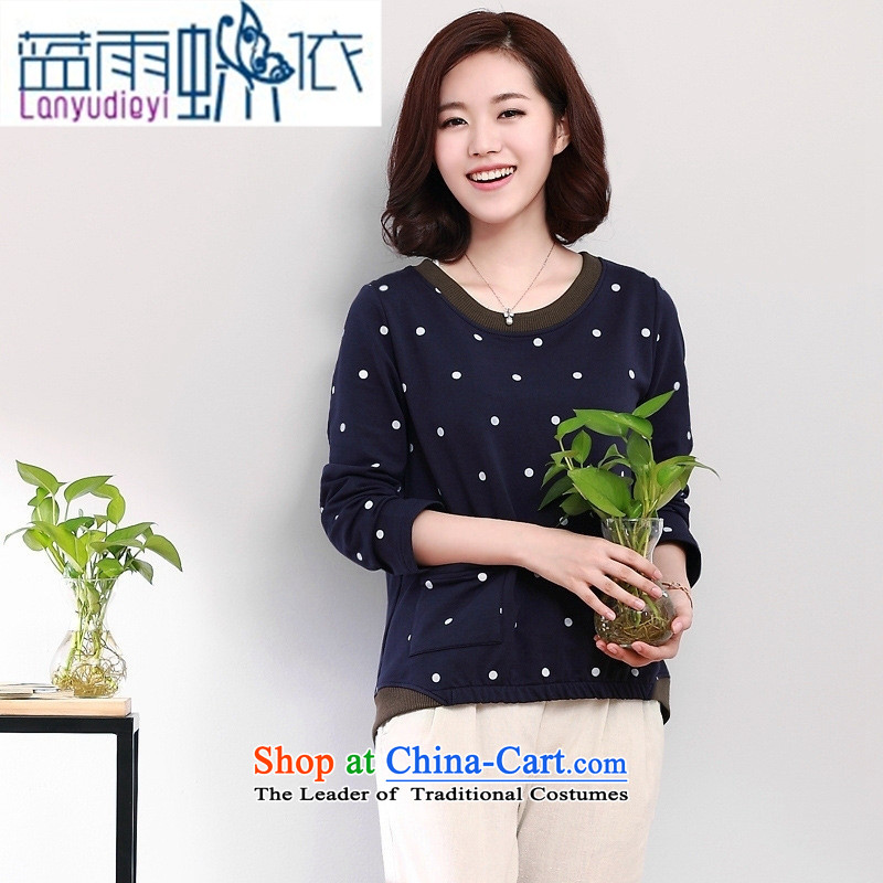 2015 Women's autumn shirts Korean dot long-sleeved T-shirt **** Yi Library loose clothing navy blue T-shirt,?XL