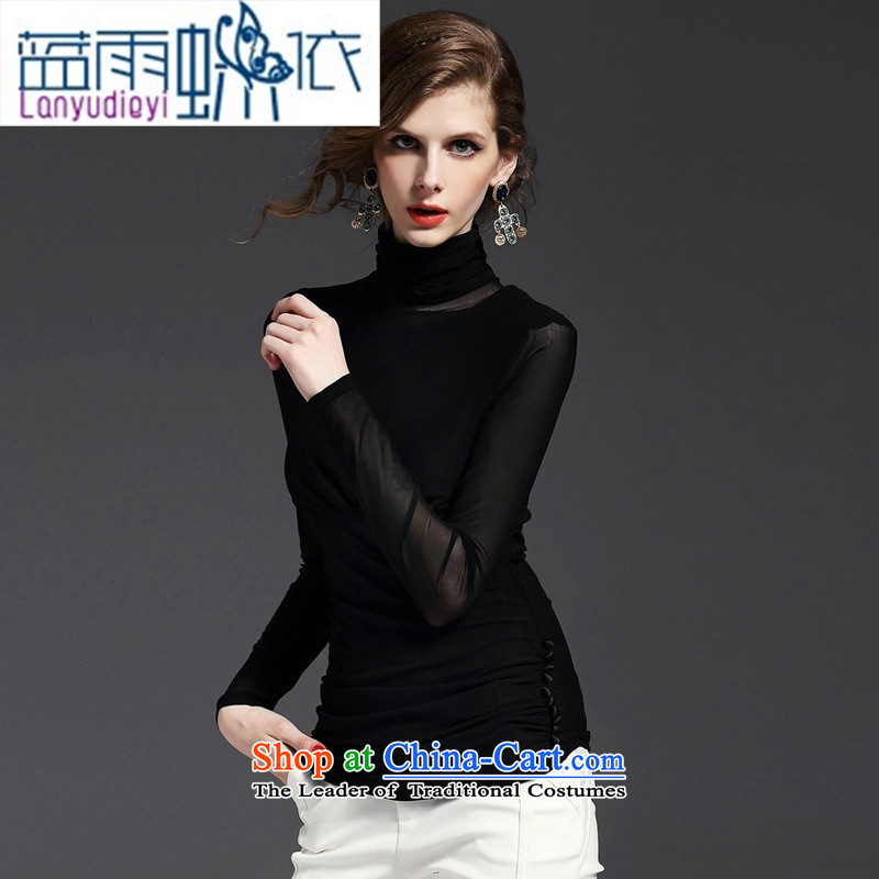 The Secretary for Health related shop European station 2015 * fall inside the new long-sleeved high collar elastic yarn, forming the web Shirt   t-shirt?YN11007 female?black?S
