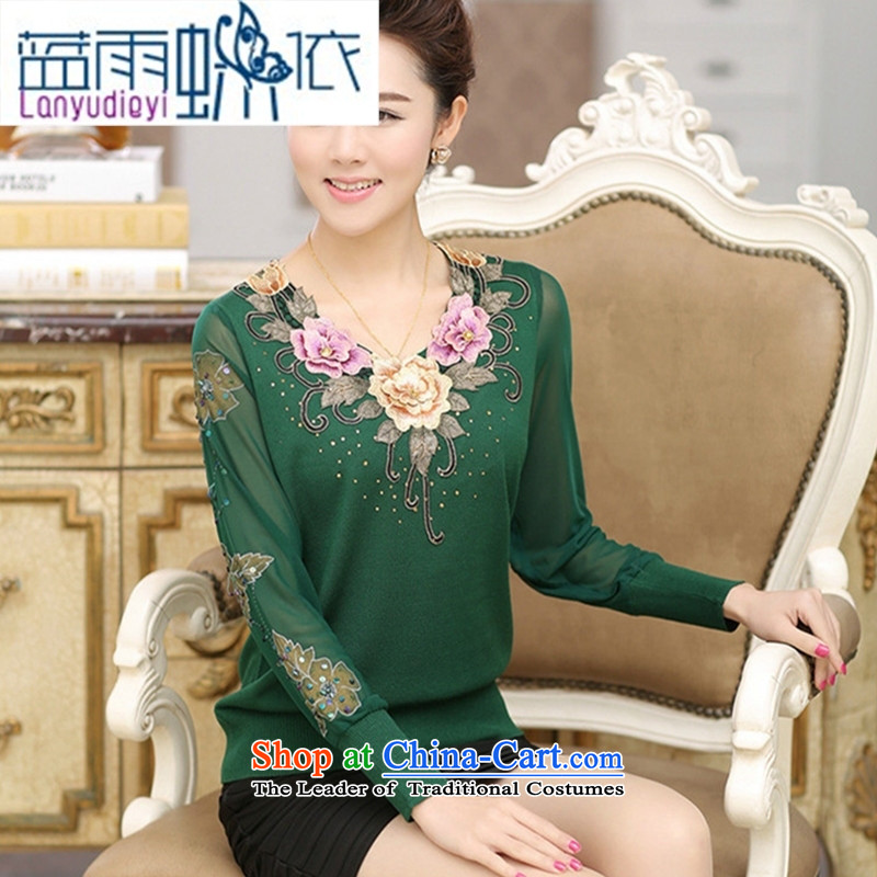 * Store and involving the elderly in summer 2015, the mother with large relaxd embroidered gauze long-sleeved T-shirt, forming the stylish blend yarn cuff female purple?115