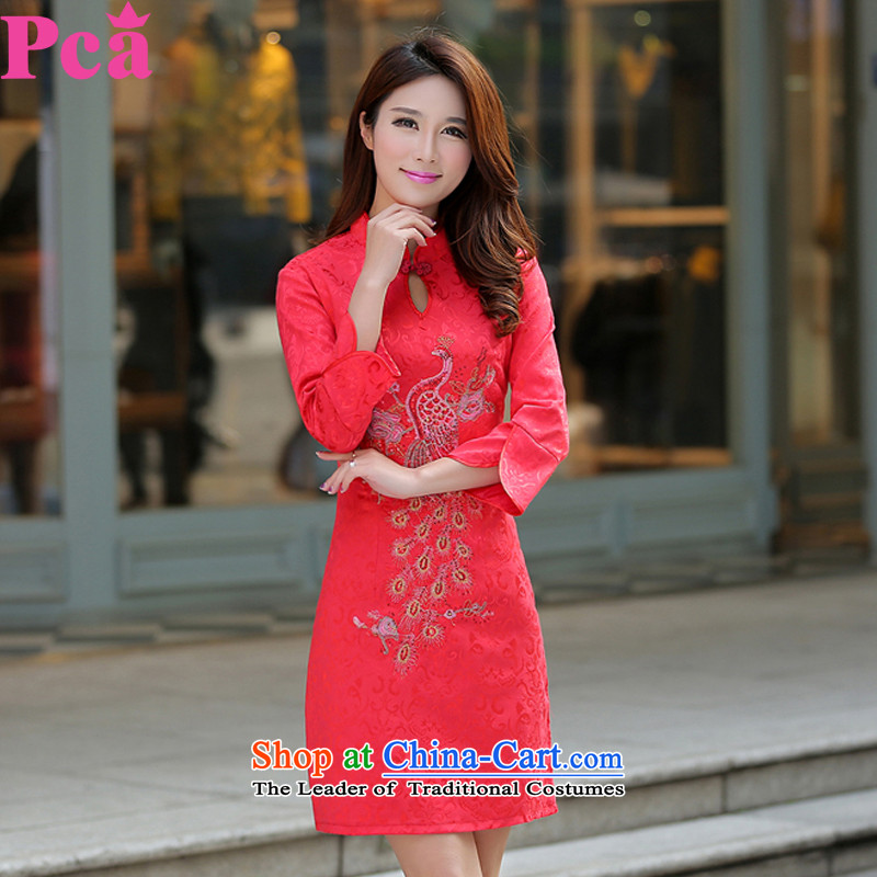 Pca cheongsam dress qipao gown brides bride skirt Bridal Services Improved Sau San embroidery bows China wind cheongsam dress 521110 China Red?M