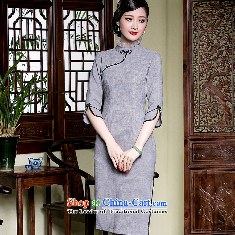 The Seal of original antique dresses elegance improved daily 7 cuff of the forklift truck, Ms. cheongsam dress light gray?M