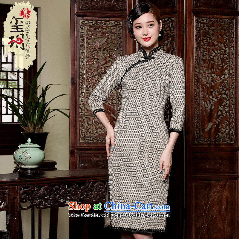 The principle of nostalgia for the improvement of the seal, knitting cheongsam dress?autumn 2015 new grid long-sleeved cheongsam dress short cornhusk yellow?XL