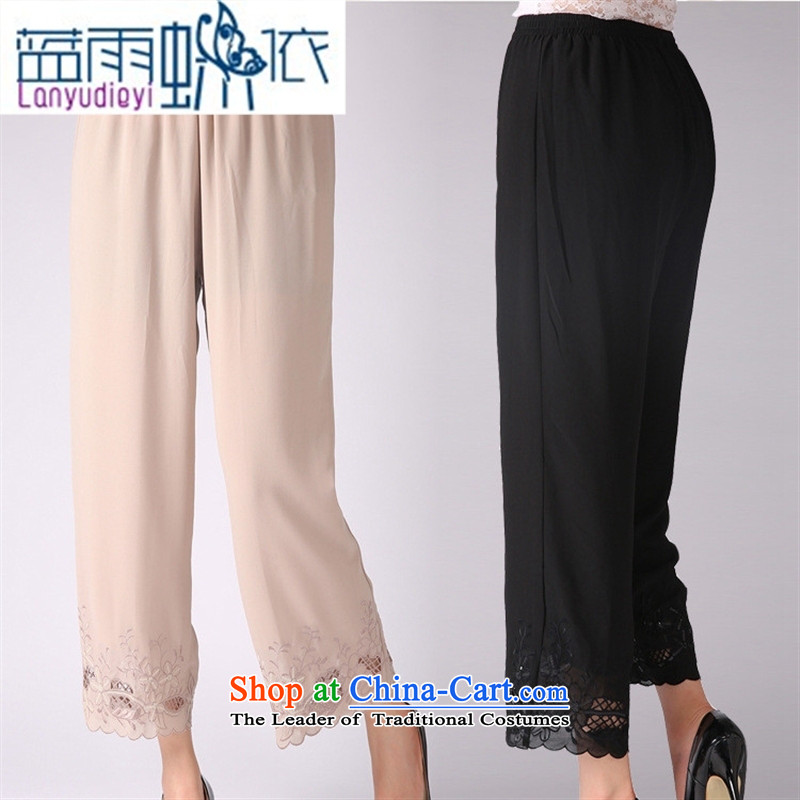 _ Store and involving the elderly in the new 2015 ladies pants Summer Snow woven pants mother trousers casual pants elastic waist larger Grandma Black聽XL