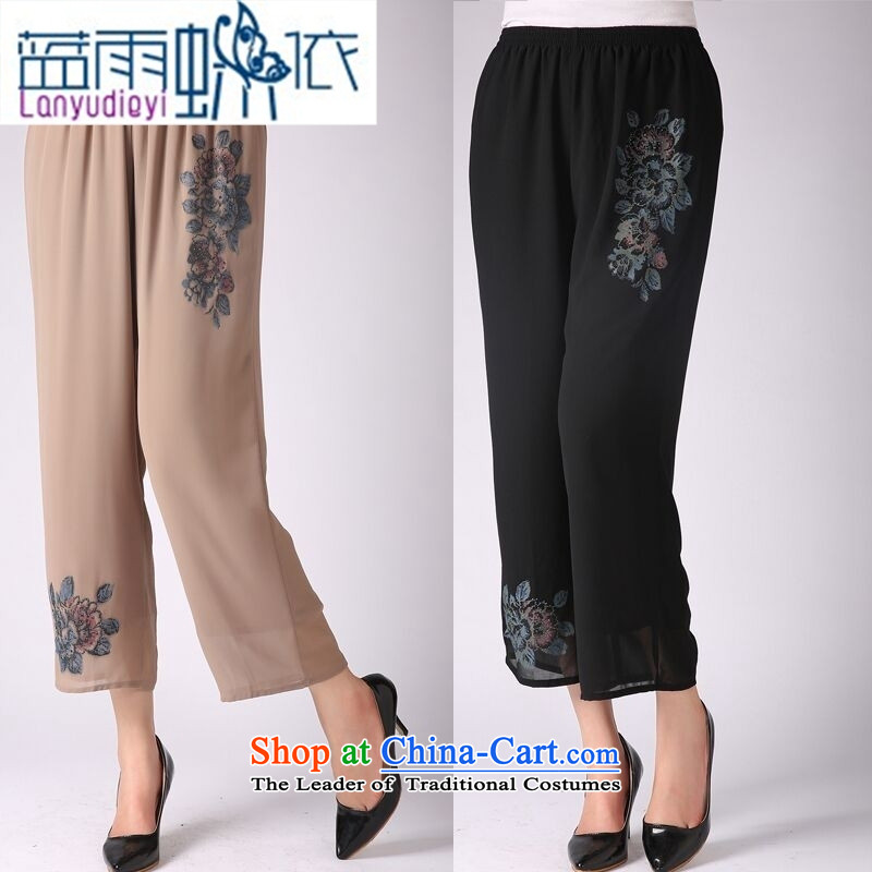_ Store and involving the elderly in the new 2015 Summer Snow woven pants middle-aged ladies pants elastic waist casual trousers and brown聽XXL Grandma