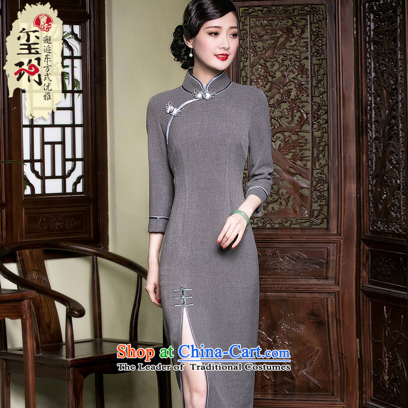 Seal of the forklift truck high improvement of nostalgia for the Republic of Korea in the shanghai old copies of Qipao long cheongsam dress gray facade燣