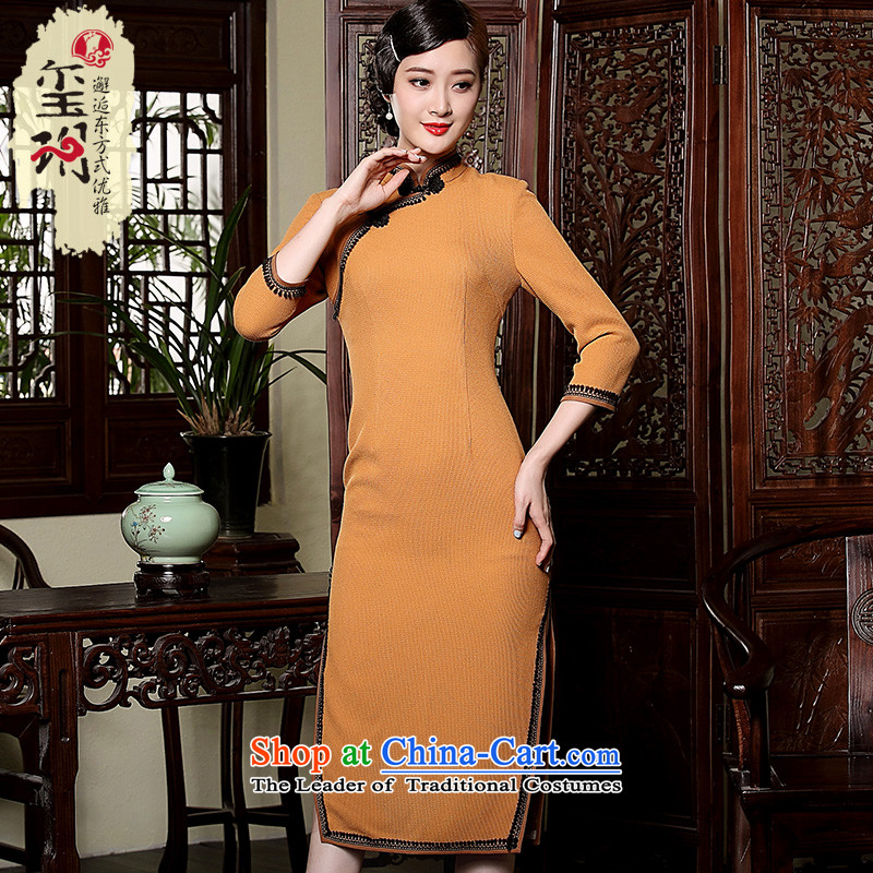 The seal of the Winter 2015 new products-to-day long qipao retro hair? improved long-sleeved Sau San Tong replacing qipao Ms. orange?L
