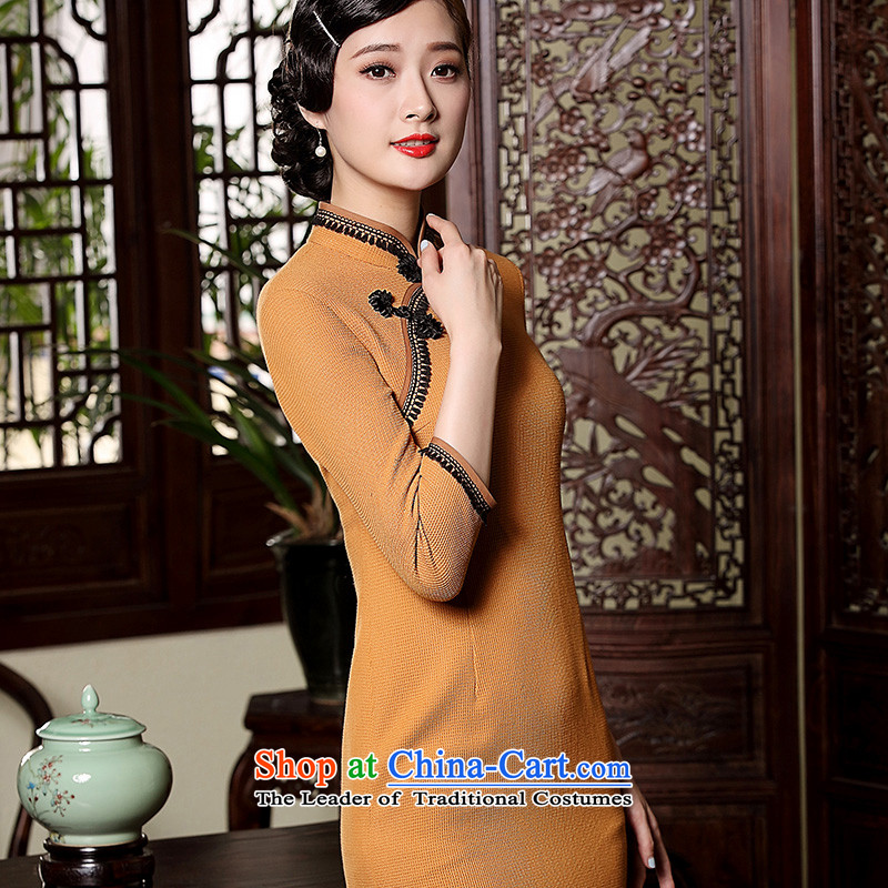 The seal of the Winter 2015 new products-to-day long qipao retro hair? improved long-sleeved Sau San Tong replacing qipao Ms. orange聽seal, L, decreased by , , , shopping on the Internet