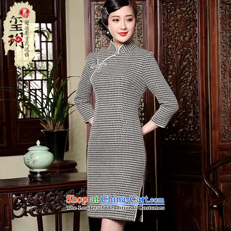 The Seal of autumn and winter wool qipao retro improvements? stripe tie score of 9, short-sleeved cheongsam dress photo color?M