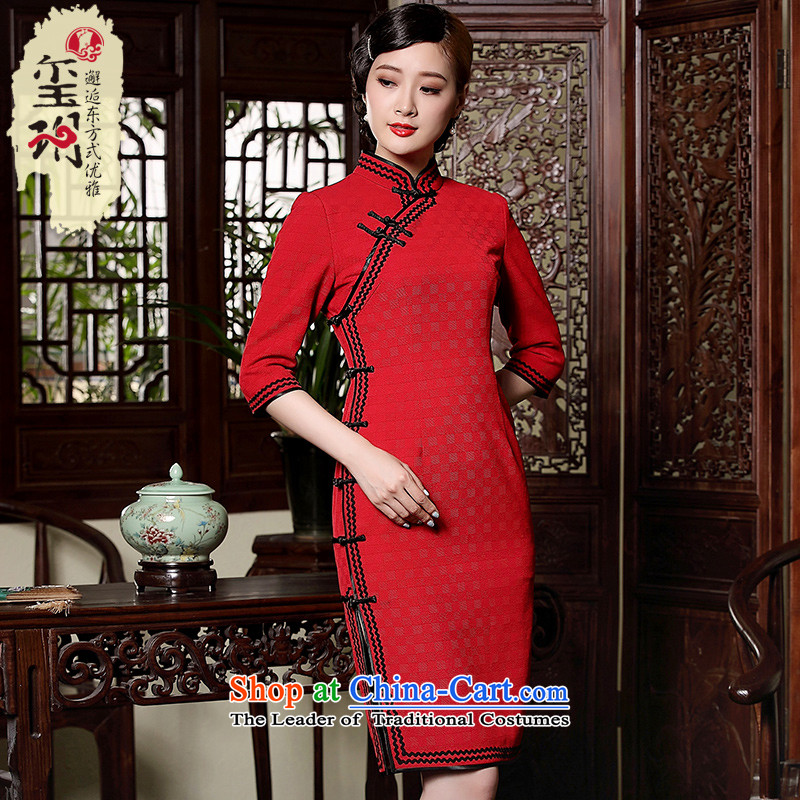The fall of the new seal improvement of the forklift truck bride bows cheongsam dress qipao retro elegant red dress RED?M