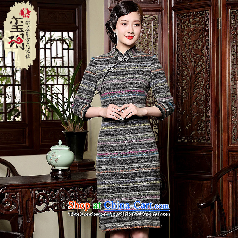 Seal of stylish streaks gross? 2015 Autumn qipao skirt the new improved elegant qipao arts long-sleeved Tang dynasty picture color XL pre-sale 20 Days