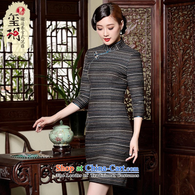 The Seal of autumn and winter new drop needle striped improved new seven short-sleeved) Ms. elegant reminiscent of the dresses picture color M