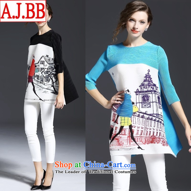 The Black Butterfly European site Fall 2015 for women in Europe Figures Figure loose and neck-sleeved T-shirt will light blue