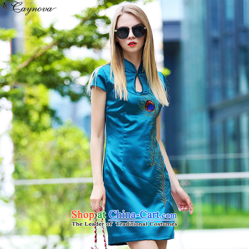 New products fall caynova2015 peacock feathers stylish and elegant qipao thin skirts video   ink blue?XL