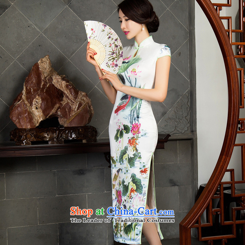 Lin Ching-such as water cool green lotus summer thin silk_ Elastic satin Silk Cheongsam long large urged summer qipao offer Lin Nunnery such as water燲L