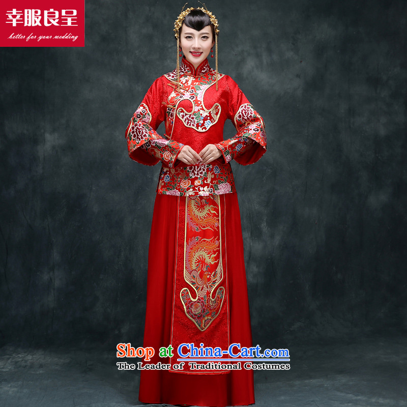 Red-soo Wo Service Chinese wedding dress bows service wedding dress girl brides qipao improved Su-Tang dynasty and long-sleeved-soo Wo Service聽M