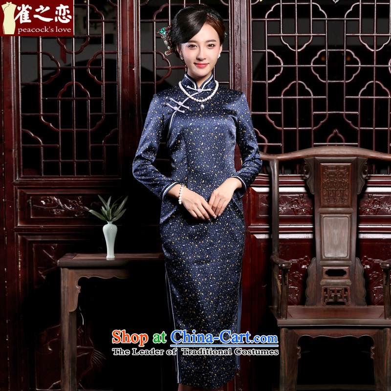 Love of birds to the聽new autumn 2015, flute, improved long-sleeved qipao retro silk cheongsam dress QC903 long navy blue floral聽XXL