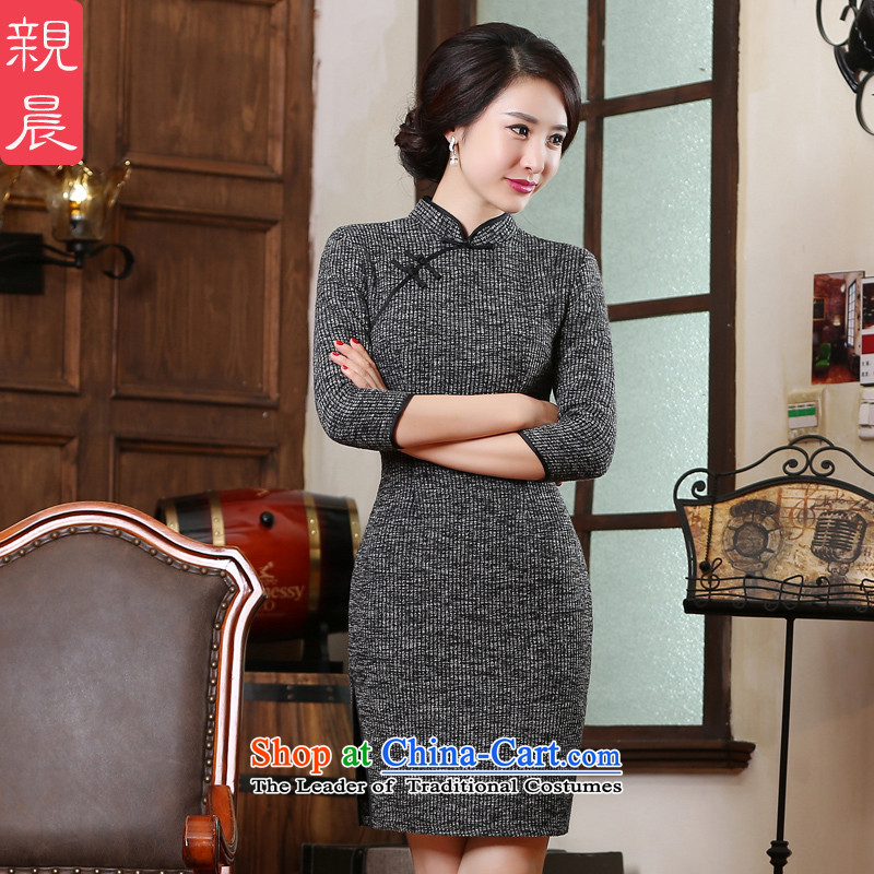 2015 Autumn and winter new cheongsam dress gross Ms.? daily retro improved knitting and the relatively short time of Sau San dresses picture color?M