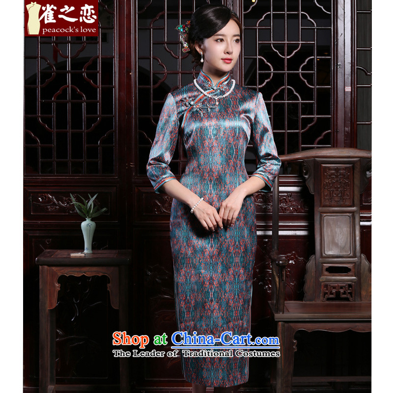 Love of birds-?2015 Autumn new boxed cheongsam dress female Silk Cheongsam QC906 long retro Suit?M