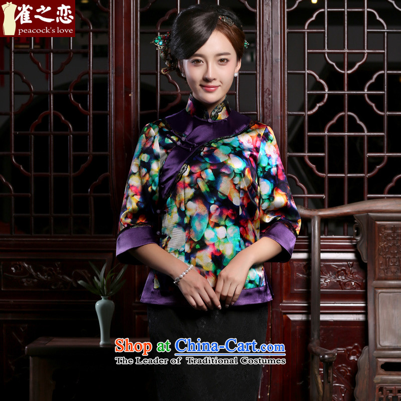 Love of birds in the燼utumn of 2015, the romantic load new improved stylish horn cuff Tang dynasty qipao QC952 female Suit燤 T-Shirt