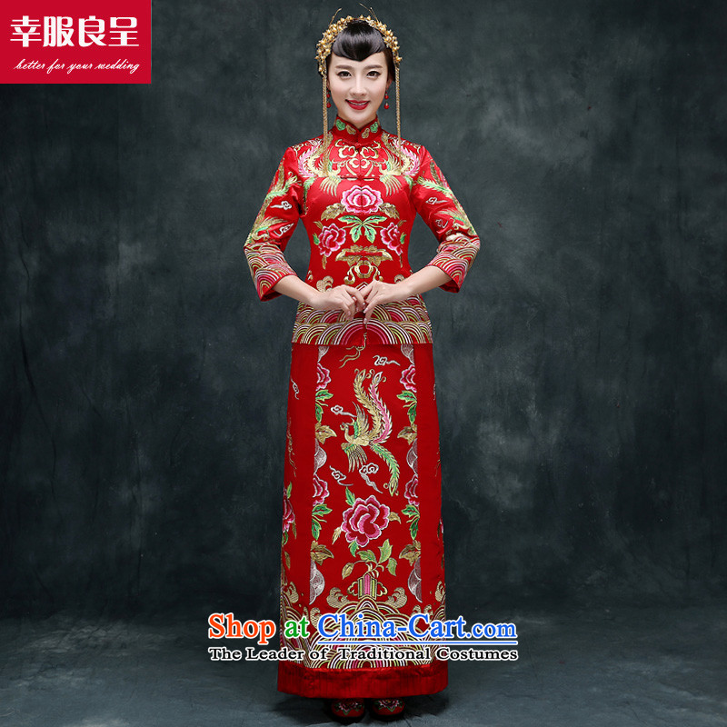 Red Dragon cheongsam dress bride wedding dresses use Fall/Winter Collections Of Chinese wedding gown of nostalgia for the Tang dynasty bows serving Bong-robe?XL