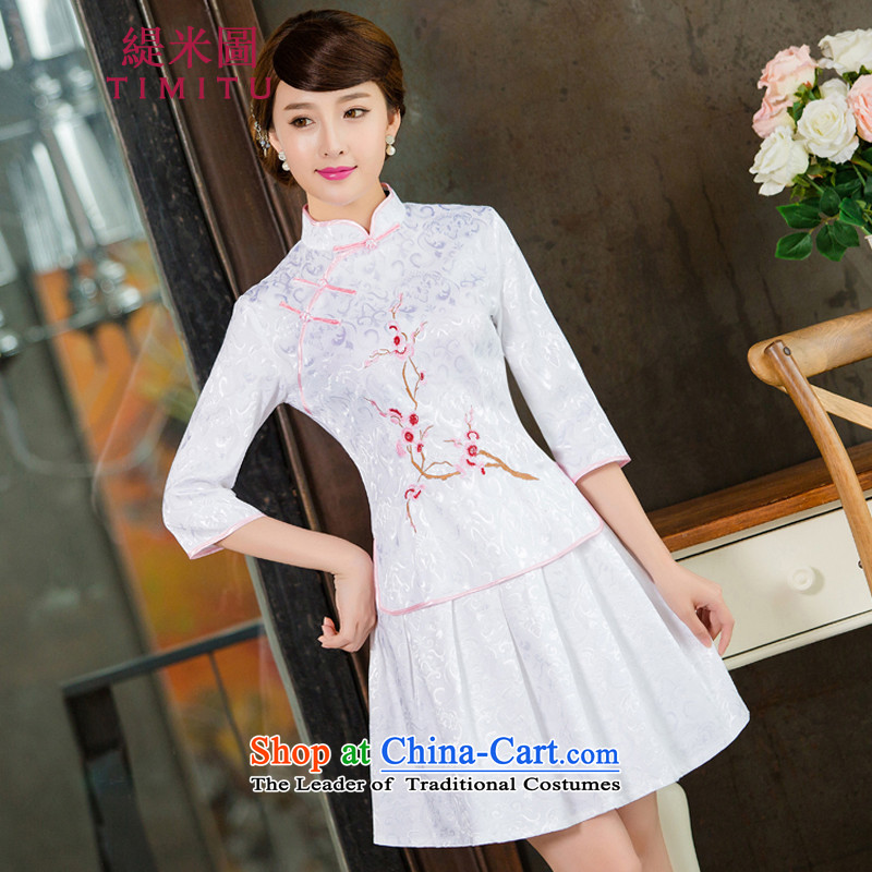 Economy figure 2015 new dulls daily cheongsam dress retro style kit two white�M