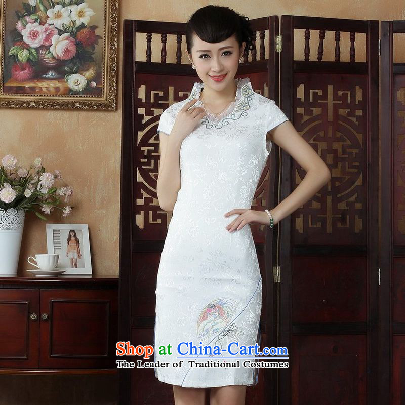 She was particularly Ms. Tang dynasty qipao trim improved summer cheongsam collar embroidered Foutune of dress dresses White?XL