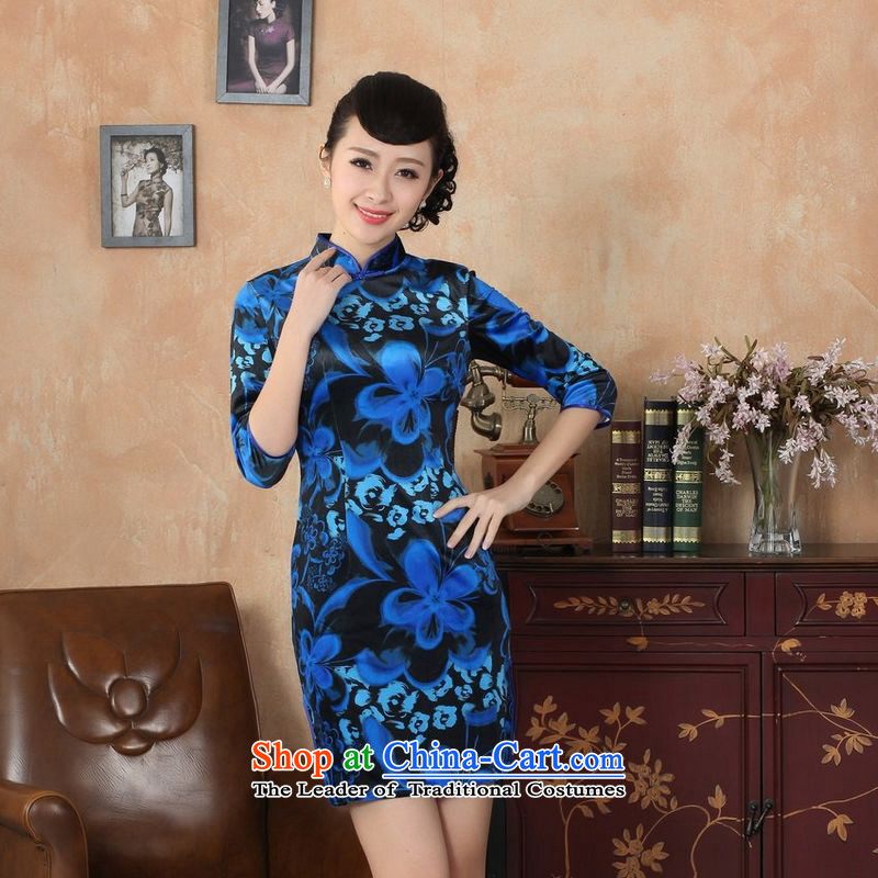 She was particularly international women's wedding dresses with TANG Sau San new Superior Stretch Wool qipao seven gold Autumn and Winter, dresses cuff dresses Blue聽M