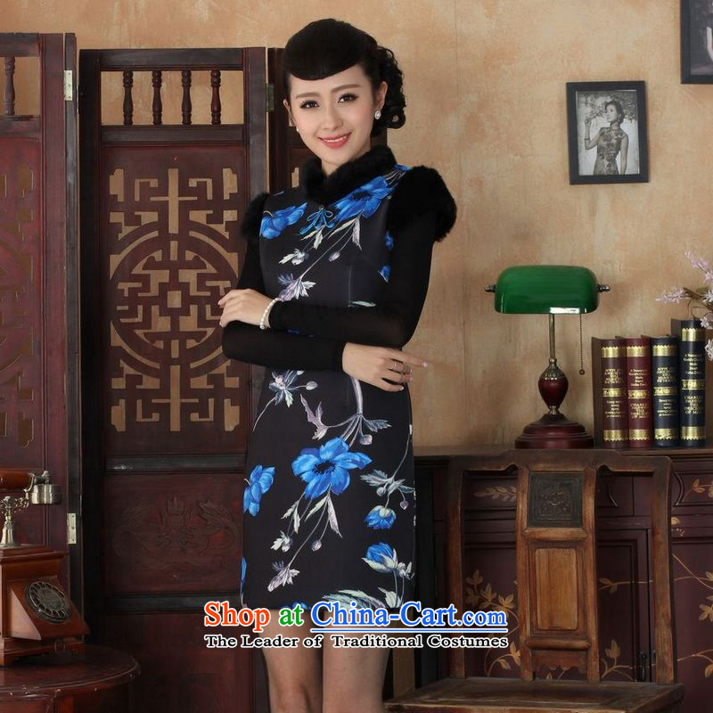 She was particularly international women's wedding dress will improve the Tang dynasty qipao Ms. Winter collar Foutune of qipao gown dresses picture color S