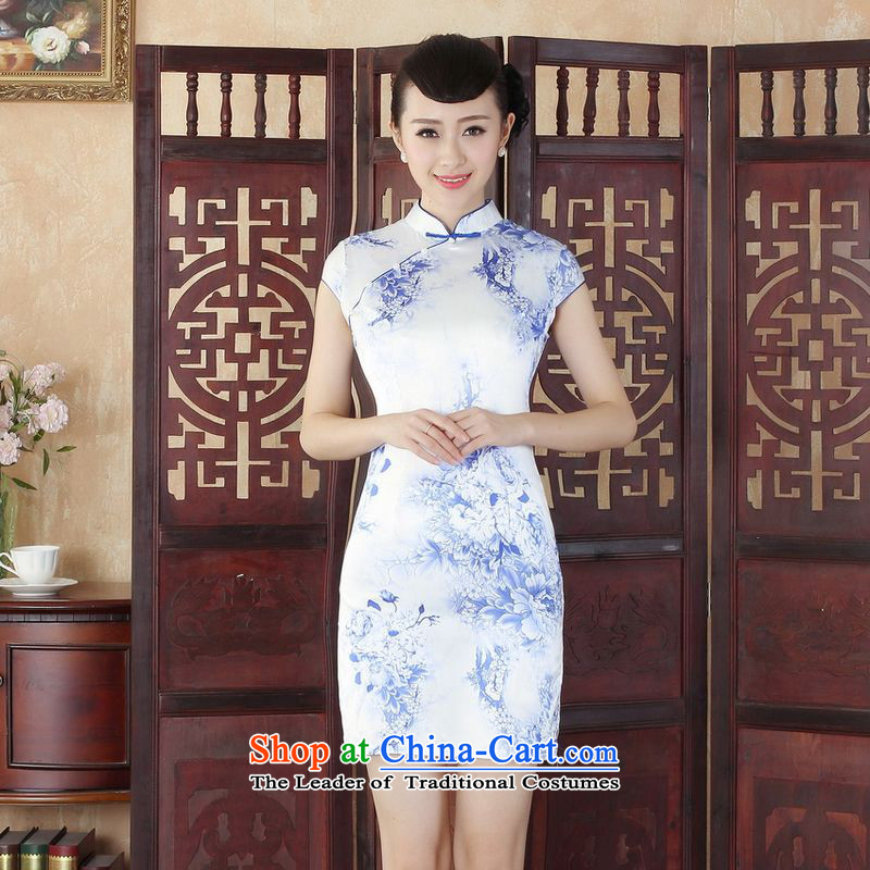 She was particularly Trim Sau San female wedding dresses qipao mother replacing Ms. Tang dynasty qipao improved summer collar is pressed qipao stamp Foutune of dress dresses J5131 map color XL
