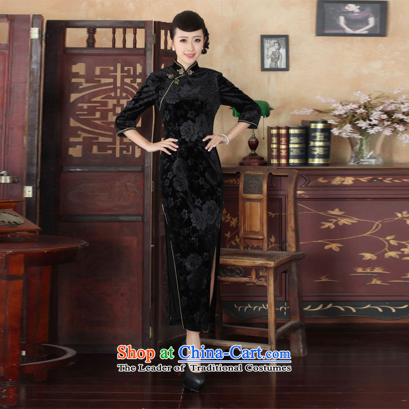 She was particularly International New Superior Stretch Wool long qipao Kim 7 cuff autumn and winter, dresses dresses wedding dress Ladies black燣