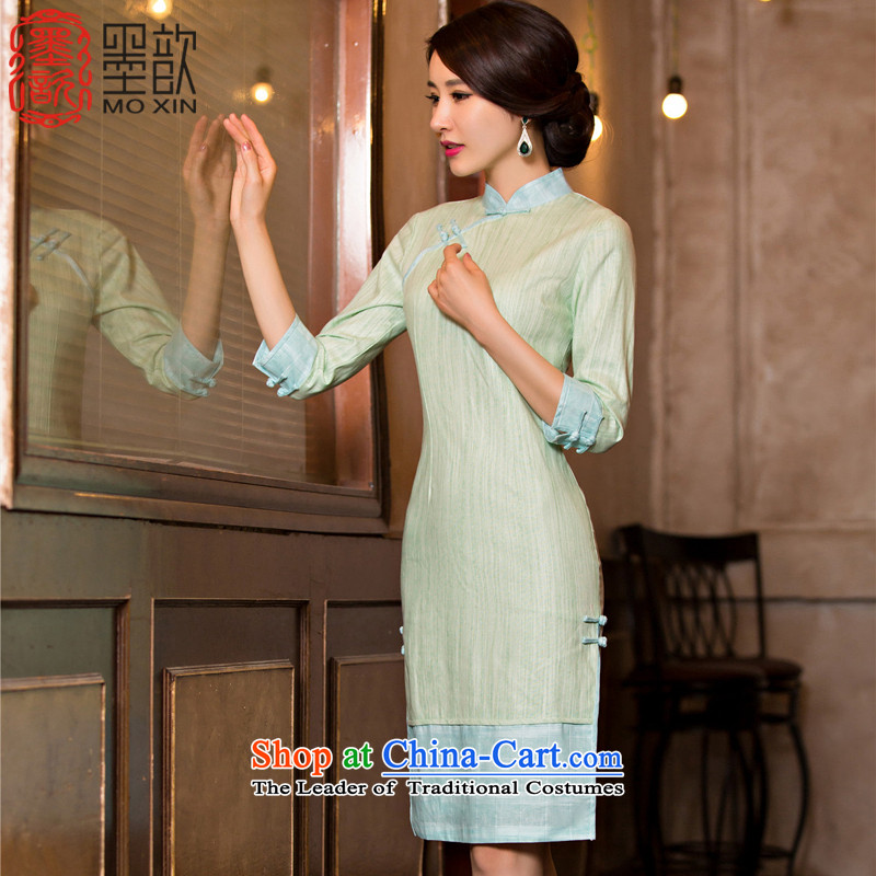 Print with jade�15 qipao ? fall inside the ice in the long, Ms. Sadik cheongsam dress new retro improved cheongsam dress 7 Cuff M130077 POWDER BLUE燲L