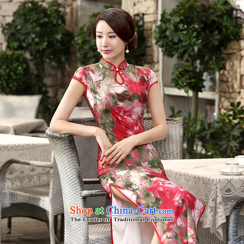 She was particularly international聽women's 2015 new cheongsam female will daily retro silk dresses short-sleeved long double qipao Sau San聽look聽picture color聽M