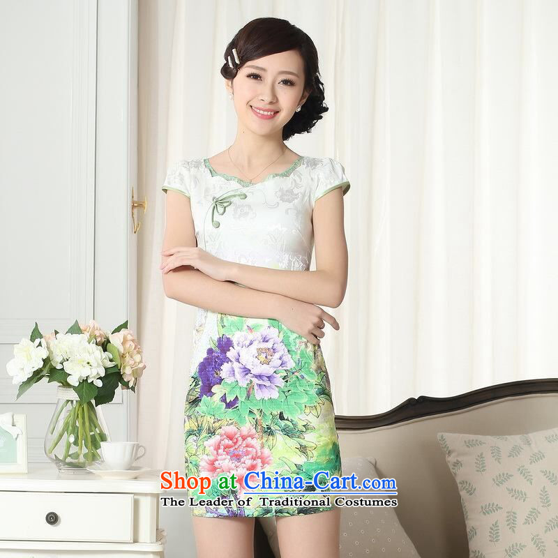 She was particularly International new summer elegance Tang dynasty qipao improved graphics thin short cheongsam picture color?M