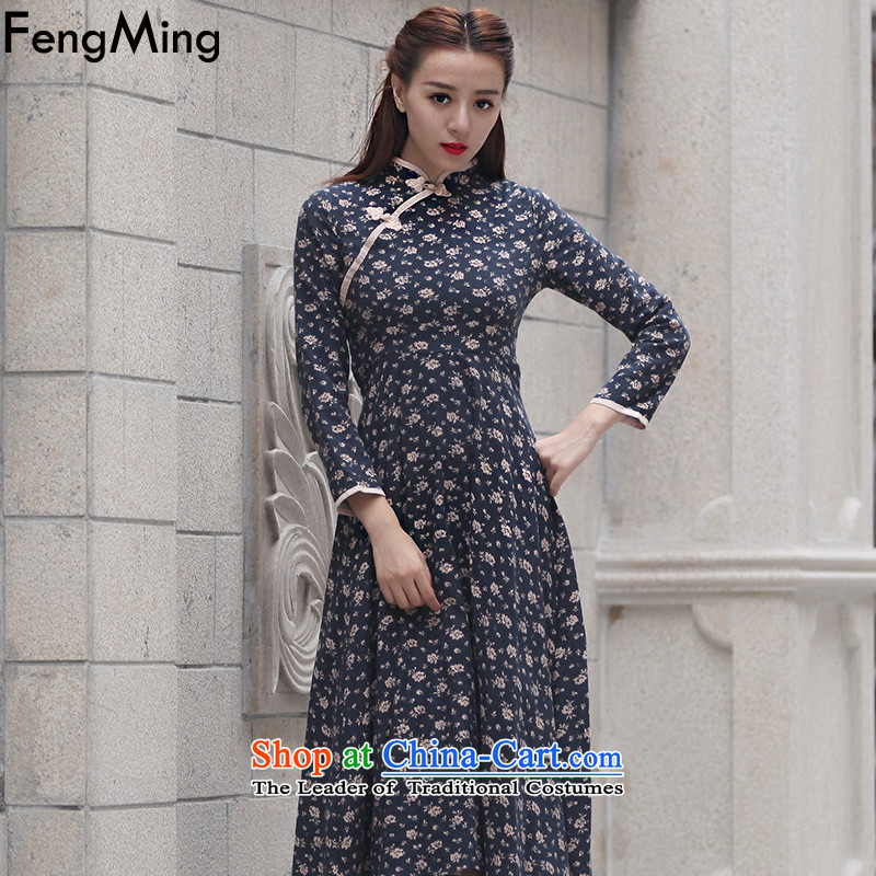Hsbc Holdings Plc 2015 Autumn Ming new long-sleeved qipao China wind collar disc detained Sau San long dress Dark Blue M