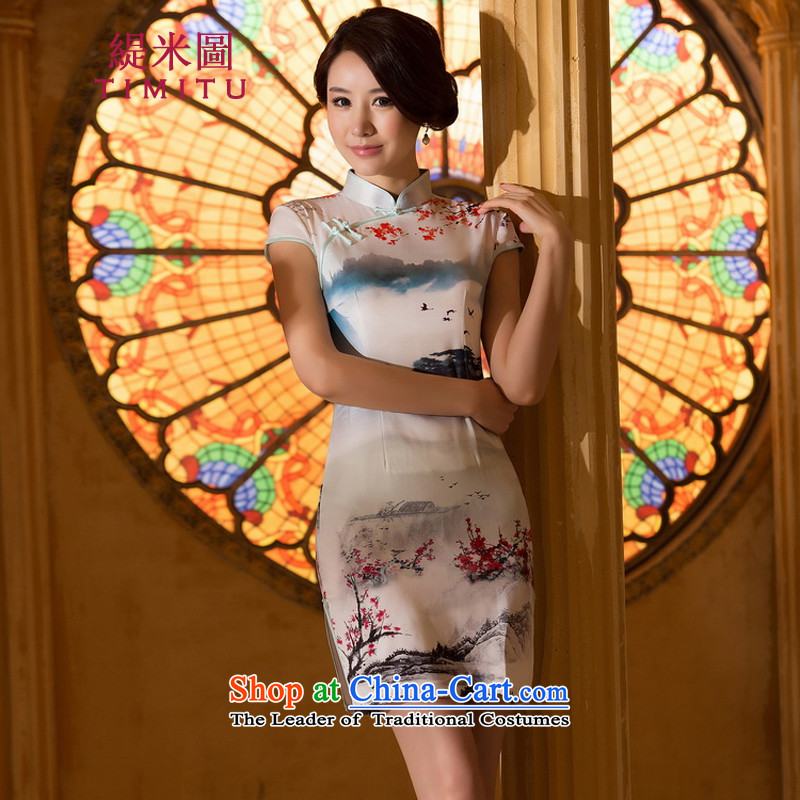 Economy by 2015 new qipao figure improved stylish Sau San emulation population everyday retro cheongsam dress photo color�L