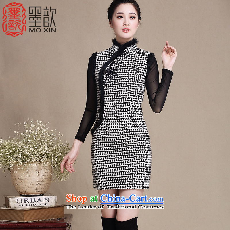 The ink in the year�2015 ? winter clothes for day-to-gross qipao retro-thick cheongsam dress new improved stylish Sau San dresses�Y3222�picture color�XXL