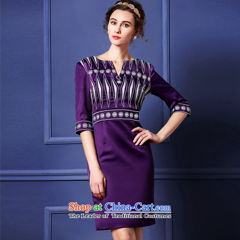 Cayman and Lai Tang Gown cheongsam dress 2015 Autumn temperament new embroidery embroidered dress in the medium to long term, damask cuff step skirt purple燲XL