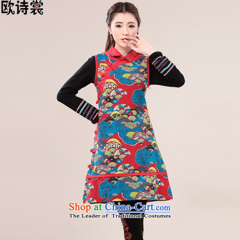 The OSCE Advisory 2015 Autumn poems on ethnic women's dresses cotton linen tray clip Chinese cheongsam dress?9615 short skirt vest?red?L