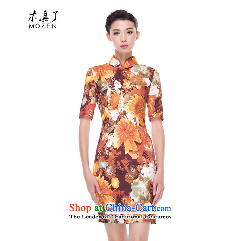 Wood, an improved cheongsam dress really new Fall 2015 installed in the stamp cuff Stylish retro daily mother qipao 0815 13 orange?M