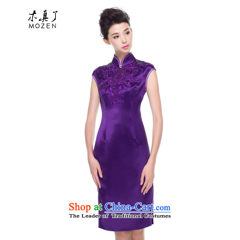 A qipao wood really fall 2015 new for women China wind retro style Silk Cheongsam improved 0838 Skirt 16 purple�M