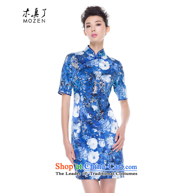 The true of silk wood elastic cheongsam dress autumn 2015 new boxed retro qipao improved stylish mother boxed 0810 10 blue�Xxl(a)