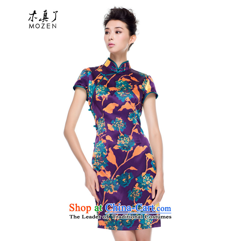 The true of silk wood qipao 2015 new fall inside of ethnic improved cheongsam dress daily mother replacing 0827 banquet 16 purple L