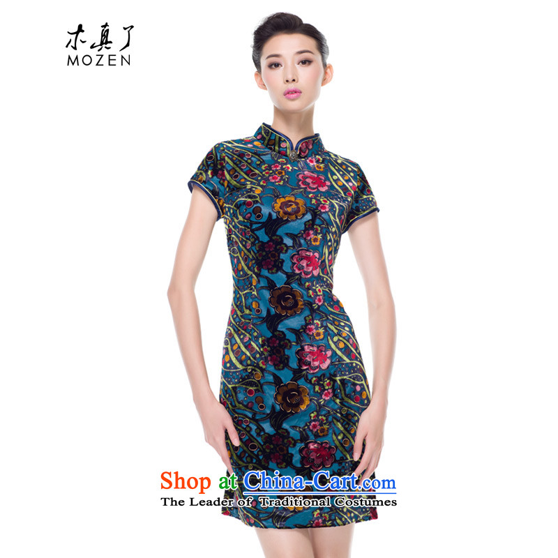 The improvement of qipao wood really fall 2015 new for women daily mother replacing cheongsam dress banquet 43111 10 deep blue聽XL