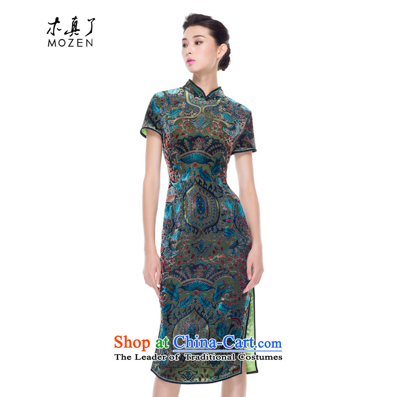 Wooden really of going back to the autumn 2015 skirt qipao new national wind long silk dress mother load 15 green?Xxl(a) 43112 Cheongsam