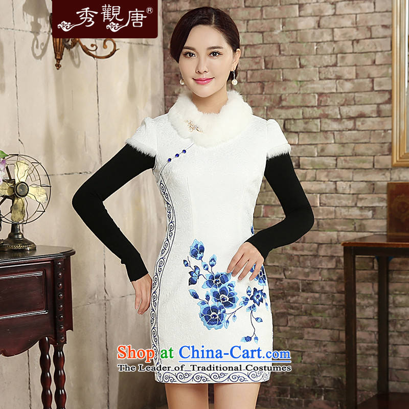 -Sau Kwun Tong- Xue Mei 2015 autumn and winter new stylish blue embroidery cotton qipao gross for folder removable QD5828 White聽XL