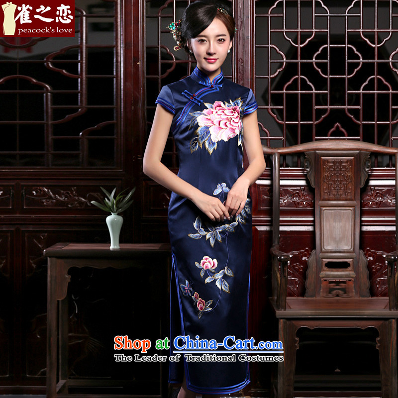 Love of birds poetic autumn 2015 installed new retro manually push embroidered heavyweight Silk Cheongsam QD808 improved long navy S 15 days pre-sale