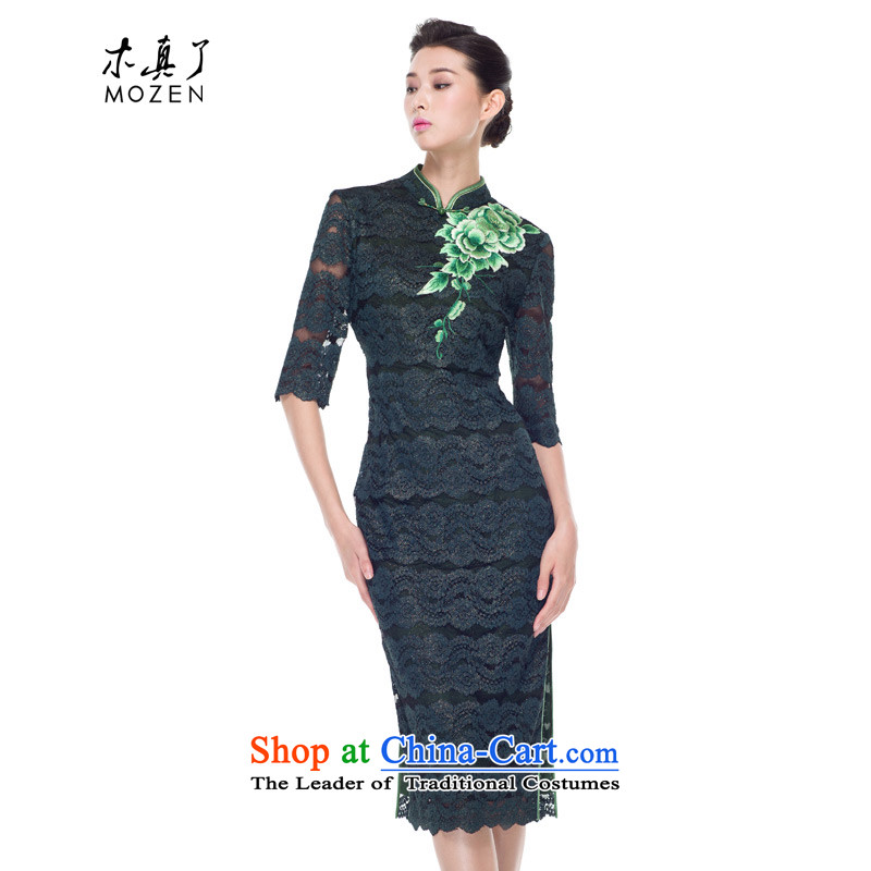 Wooden Lace Embroidery to a really long in the autumn of 2015, the new cheongsam dress daily banquet cheongsam dress 43142 14 deep green?M